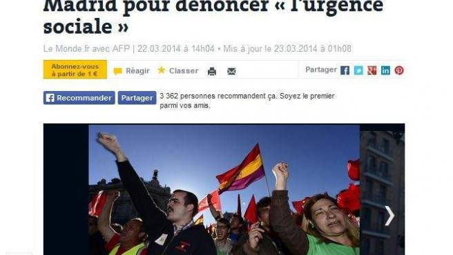 """""""Gigantesca manifestación en Madrid para denunciar """"la urgencia social"""", destaca el diario 'Le Monde' en su titular."""