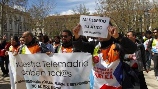 Marcha de los trabajadores de Telemadrid contra el ERE, este miércoles