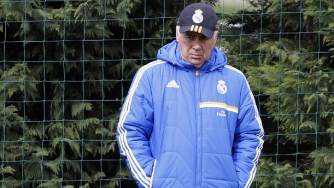 Ancelotti, durante un entrenamiento.