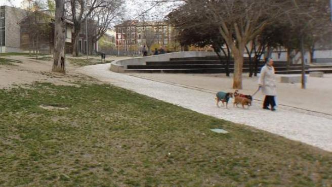 Parque Casino de la Reina (en Lavapiés), con praderas secas y mobiliario deteriorado. Esta es una de las primeras zonas verdes de Madrid que serán reformadas.