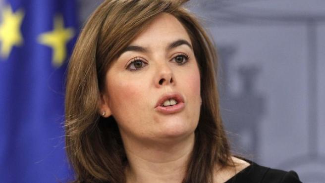 La vicepresidenta del Gobierno, en rueda de prensa.