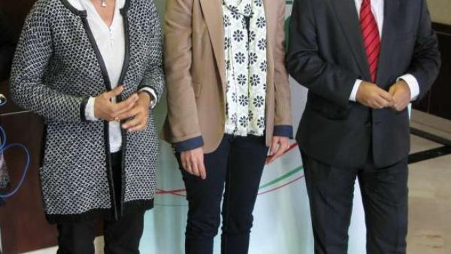 María Gámez, Rafaela Crespín y Miguel Ángel Heredia (PSOE)