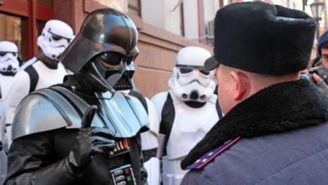 Imagen de Darth Valder, candidato a las elecciones presidenciales ucranianas.