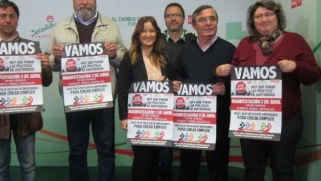 La secretaria general del PSOE Sevilla, con responsables de CCOO y UGT Sevilla