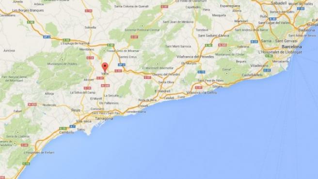 Localización en el mapa de Valls (Tarragona), donde se investiga la muerte de un matrimonio de avanzada edad.