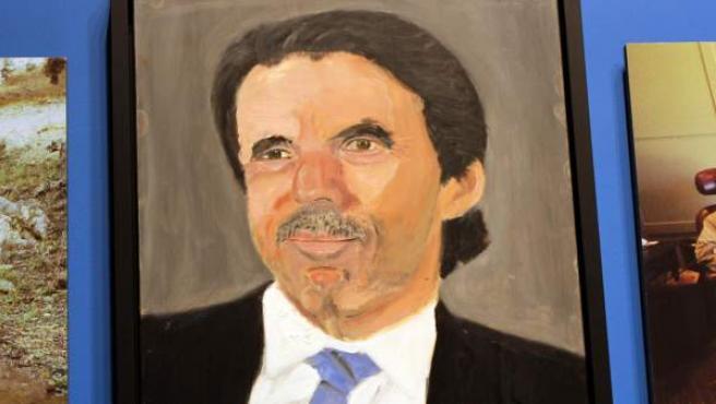 Retrato del español José María Aznar exhibido en la primera exposición como pintor del expresidente de Estados Unidos George W. Bush, en Dallas, Texas (EE UU).