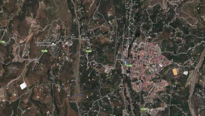 Vista vía satélite de la localidad granadina de Órgiva y la pedanía de Las Barreras.