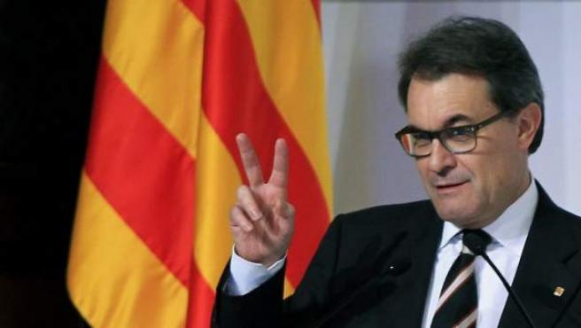 El presidente de la Generalitat, Artur Mas, durante su intervención en el acto central conmemorativo del centenario de la Mancomunitat de Cataluña.