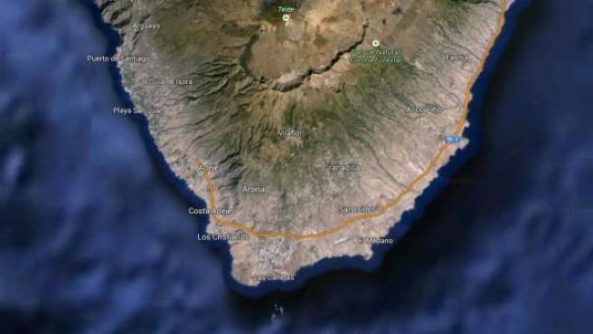 Vista vía satélite del sur de la isla de Tenerife.