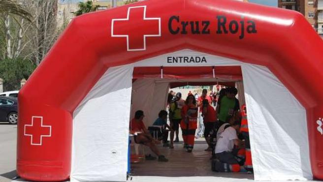 Uno de los puestos de Cruz Roja