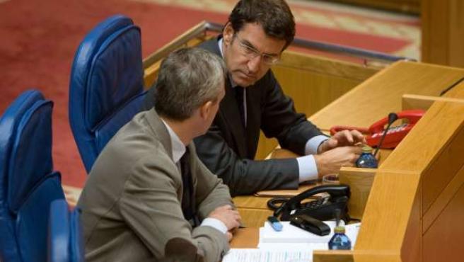 Feijóo y Rueda en el Parlamento