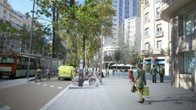 Imatge que recrea com quedarà l'avinguda quan acabi la reforma de la Diagonal.