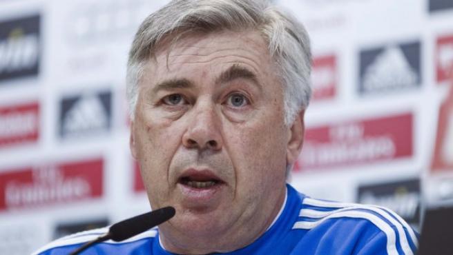 El entrenador del Real Madrid, el italiano Carlo Ancelotti, durante la rueda de prensa.