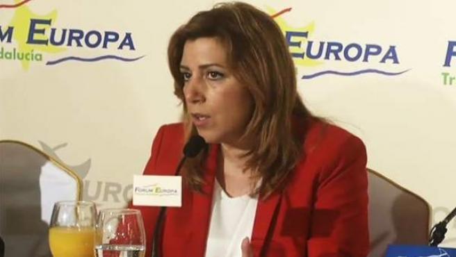Susana Díaz, presidente de la Junta de Andalucía, en un desayuno informativo.
