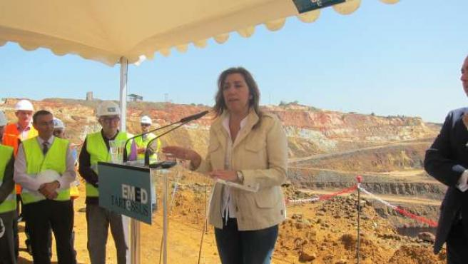 La presidenta de la Junta, Susana Díaz, en la mina de Riotinto, en Huelva.