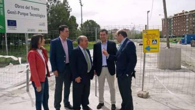 Juan Manuel Moreno, Sebastián Pérez, y José Torres Hurtado, en obras del Metro