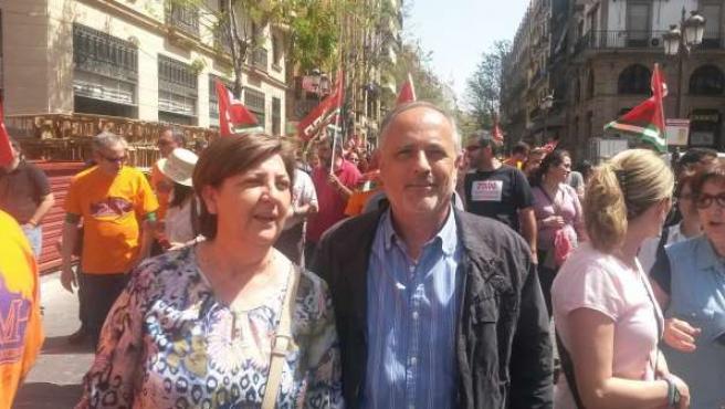 Los concejales de IU en la manifestación.