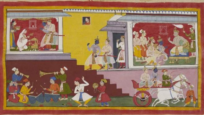 Una de las ilustraciones del monumental 'Ramayaba de Mewar', realizado en el siglo XVII