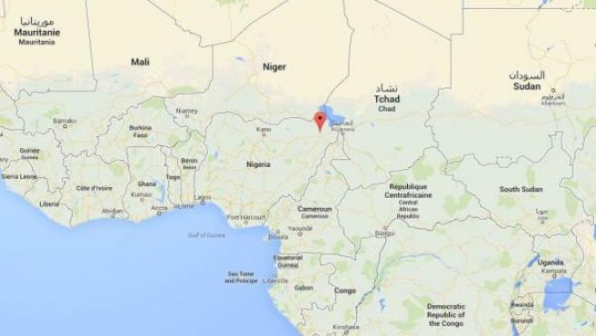 Ubicación de Chinook, en el estado nigeriano de Borno.