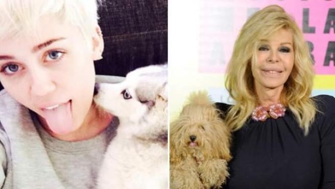 Miley Cyrus, Bibiana Fernández y Emma Thompson posan con sus mascotas.