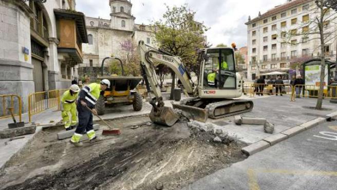 Obras del nuevo acceso a la catedral por la Plaza de Atarazanas