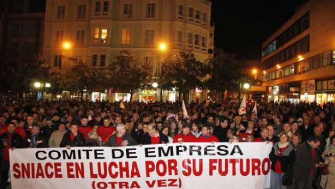 Imagen de archivo de una manifestación Sniace