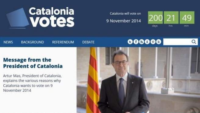 Captura de la página web Catalonia Votes, con la que el Ejecutivo catalán quiere explicar el porqué de la consulta y que se ha puesto en marcha 200 días antes del 9 de noviembre.
