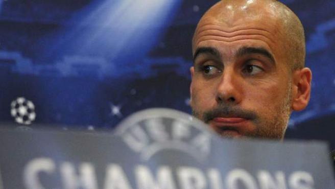 El entrenador del Bayern Munich, Pep Guardiola, durante la rueda de prensa previa al partido de ida de semifinales de la Liga de Campeones frente al Madrid.