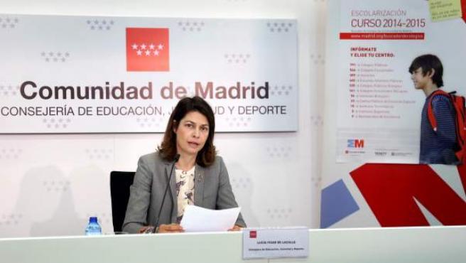 Lucía FIgar, consejera de Educación de la Comunidad de Madrid, durante la presentación de la campaña de matriculacion escolar para el curso 2014-2015.