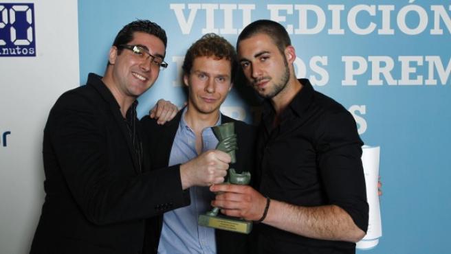 David, Álvaro y Alejandro, los autores de 'Seducción y Superación', con su premio 20Blog a la mejor bitácora por votación popular.