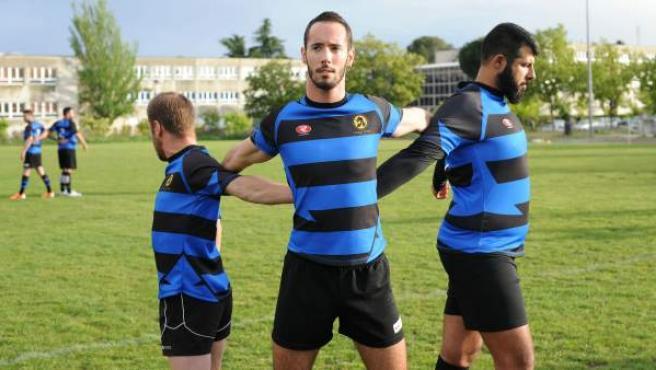 Sesión preparatoria del equipo de rugby de los Madrid Titanes.