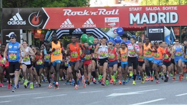 Momento de la salida del Maratón de Madrid 2014.