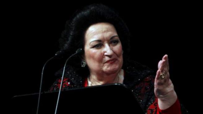 Montserrat Caballé, en el Liceo de Barcelona con motivo del medio siglo de su debut en el teatro.