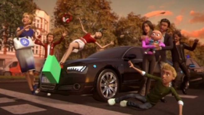 Momento del atropello a la 'familia' de Mediaset en un anuncio.