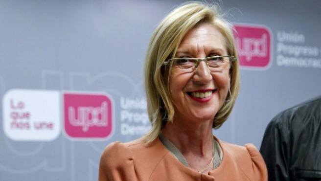 La portavoz de UPyD, Rosa Díez, durante la presentación del libro 'A favor de España. El coste de la ruptura'.