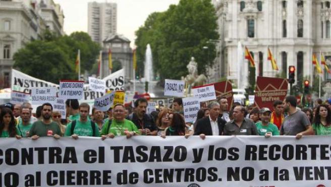 Cabecera de la marcha que ha recorrido Madrid este jueves.