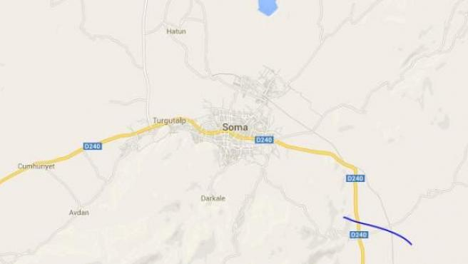 Captura de pantalla del mapa que muestra el emplazamiento de la ciudad de Soma, en Turquía.