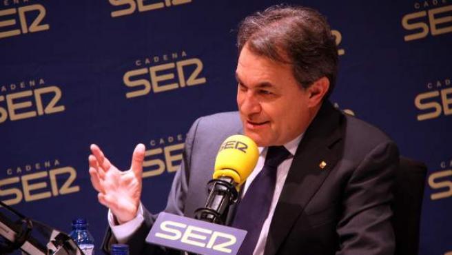 El presidente de la Generalitat, Artur Mas, durante una entrevista en la cadena Ser.