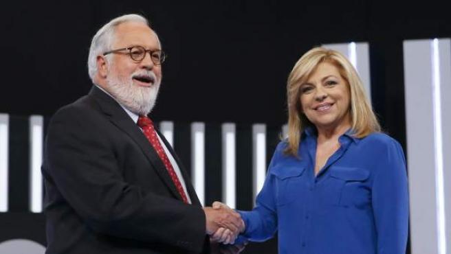 Elena Valenciano y Miguel Arias Cañete se enfrentan en el debate por las elecciones europeas.