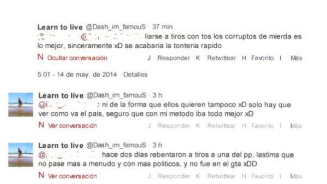Amenazas registradas en la cuenta de Twitter del imputado