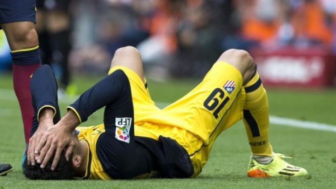 El delantero del Atlético de Madrid, Diego Costa, lesionado.