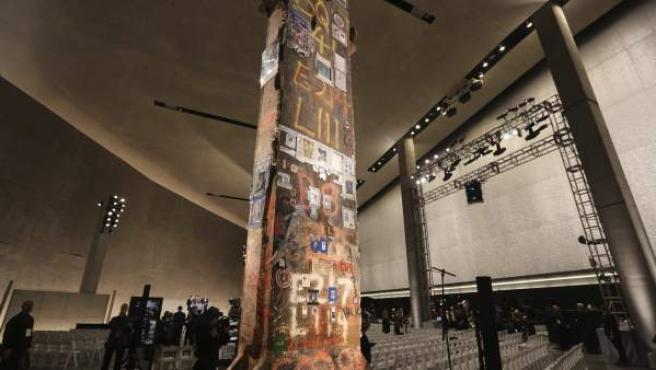 Viga de acero del original World Trade Center expuesta en el Museo de la Memoria del 11-S en Nueva York (Estados Unidos).