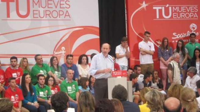 Rubalcaba, en su intervención en el mitín celebrado en Almería