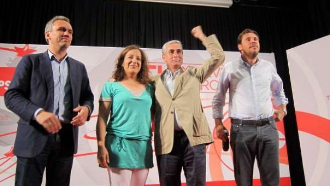 Jáuregui, García, Punte e Izquierdo durante el mitin celebrado en Valladolid