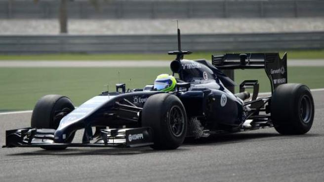 El piloto brasileño Felipe Massa, en su Williams durante los entrenamientos de pretemporada en Bahréin.