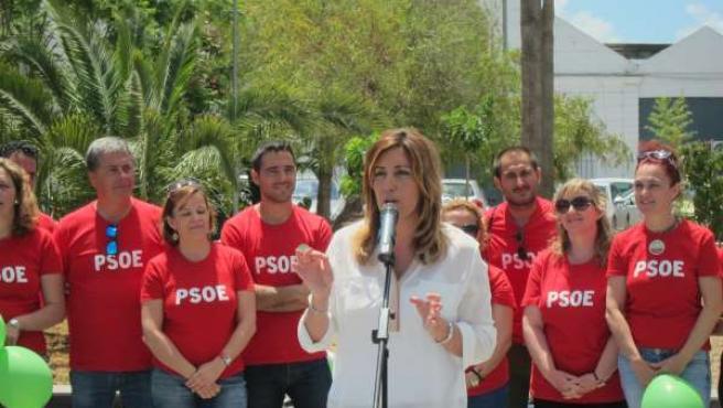 Susana Díaz en el acto celebrado en La Algaida, en Sanlúcar de Barrameda