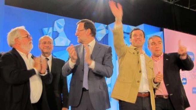 Cañete, De la Torre, Rajoy, Moreno y Bendodo, en un acto en Málaga