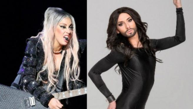 Dos divas: Lady Gaga y Conchita Wurst.