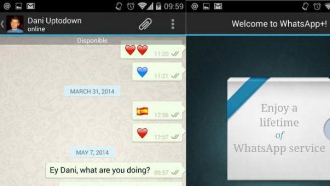 Dos capturas de pantalla de WhatsApp Plus, la versión no oficial de WhatsApp con sello español.