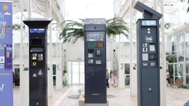 Los tres nuevos modelos de parquímetros inteligentes del Ayuntamiento de Madrid.